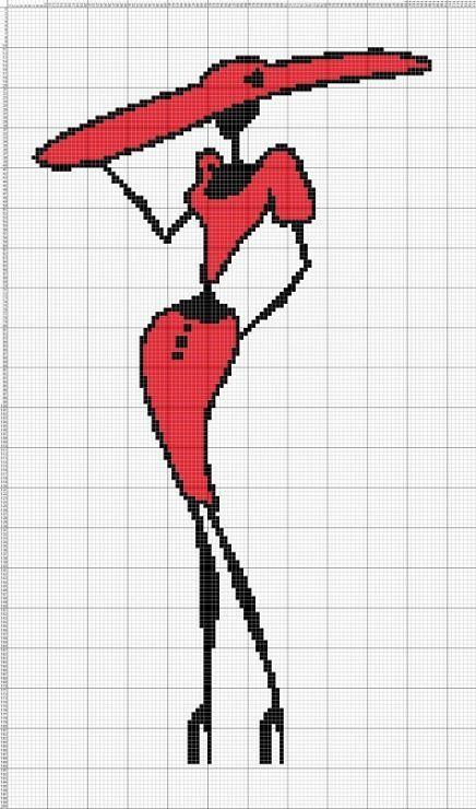 0 point de croix silhouette noire et rouge chapeau - cross stitch red and black silhouette hat