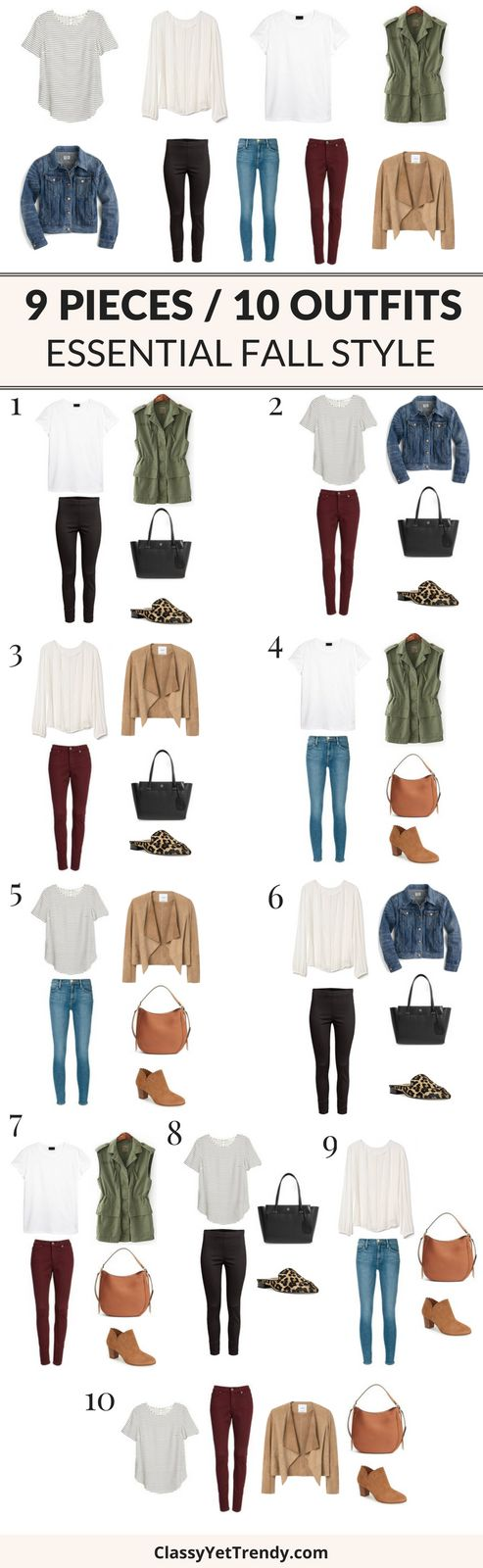 Turn 9 tops and bottoms into 10 outfits for a Fall wardrobe!   If you have 9 essentials in your closet, you can turn them into 10 outfits!  These 9 tops and bottoms are classic and timeless pieces that never go out of style.  Outfit ideas included are ankle pants, burgundy jeans, skinny jeans, pintuck top, striped top, white tee, suede jacket, denim jacket, utility vest, tote, hobo bag, mules and boots.