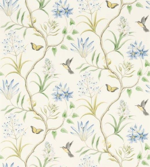 Clementine (213389) - Sanderson Wallpapers - An elegant hand painted effect tropical trail, including hummingbirds, butterflies and exotic flora. Shown here in blue, yellow, green and white. Other colourways are available. Please request a sample for a true colour match. Wide width pattern. Paste the wall.