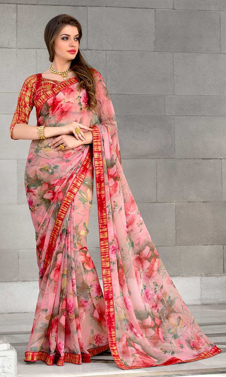 Shop Pink Digital Printed Saree (SKU Code : SAPBRVSD3160) Online at IshiMaya Fashion