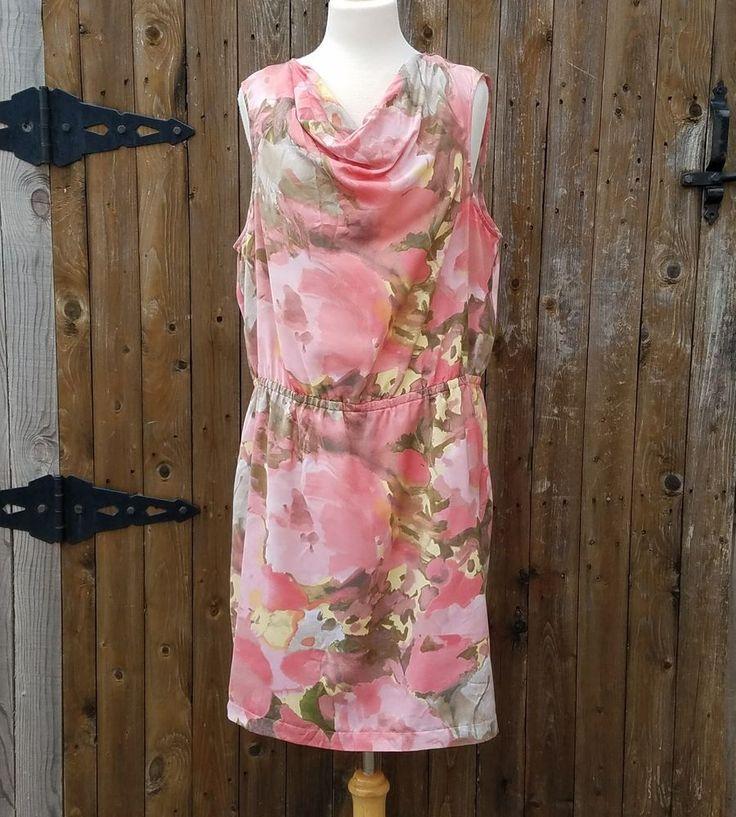Chicos Size 2 Spring Summer Watercolor Drop Waist Keyhole Back Sleeveless Dress #Chicos #DropWaist