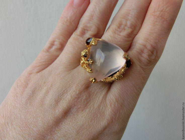 """Купить Кольцо """"Две лягушки"""" с розовым кварцем, гранат серебро 925 золото - авторские украшения"""