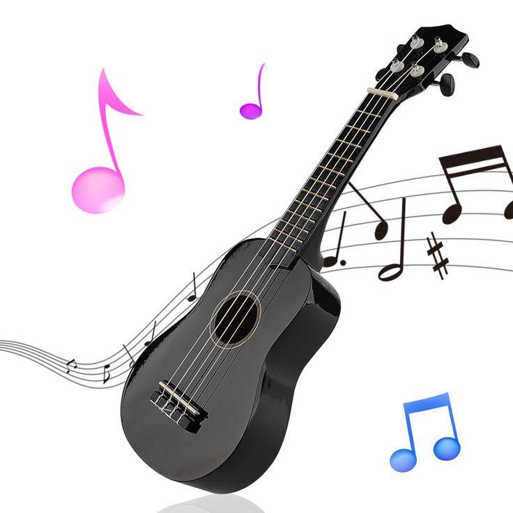 """21 """"Mini Professionnel Noir Vintage Acoustique Soprano Guitare Ukulélé Musical Instrument Pour L'école Musique Apprenant"""