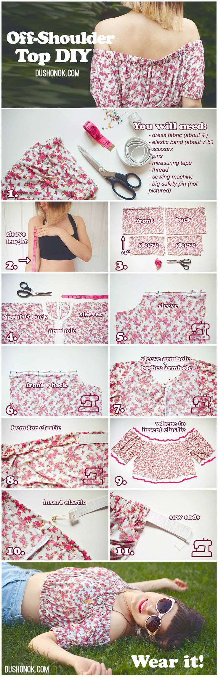 Pretty boho off-the-shoulder gathered crop top DIY sewing pattern
