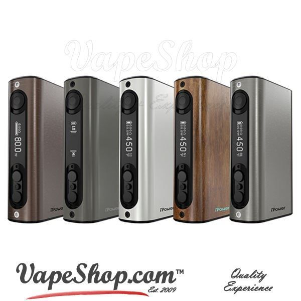 The Eleaf iPower 80W TC features an ultra large 5000mAh battery capacity with a builtin cell in a compact, elegant and comfortable design reminiscent of the iStick 50W but with a more elegant and refined finish. The Eleaf iPower 80W TC has a maximum power output of 80W and supports many output modes such as Variable Wattage, Temperature Control (for Nickel, Titanium and Stainless Steel wires), TCR (Temperature Coefficient of Resistance), and a Bypass output mode.
