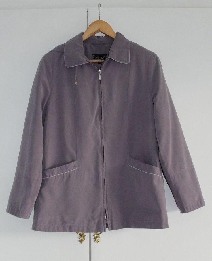 Size 12 EU 40 DEBENHAMS CLASSICS Lilac Coat Jacket Zip Front (123) #Debenhams