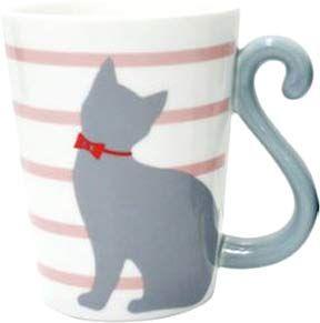 Cat Tail Mug Cup (Pink) $10.50 http://thingsfromjapan.net/cat-tail-mug-cup-pink/ #kawaii Japanese mug #cute cat mug #kawaii mug