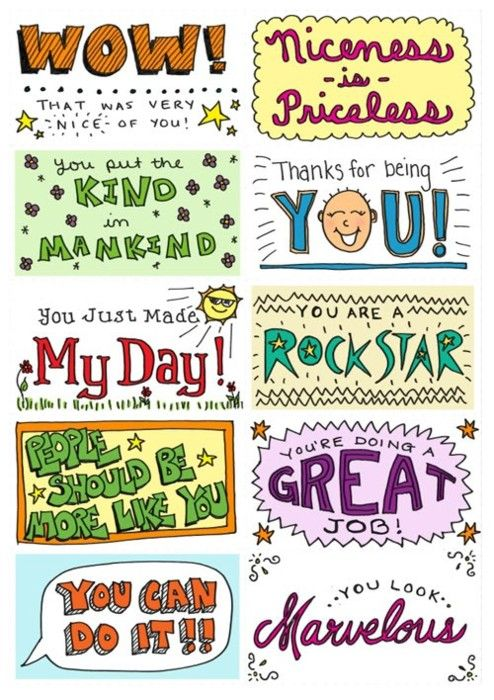 I would print these onto business cards and hand them out to students who earned them. Perhaps when they collect a certain amount, they would get a reward.