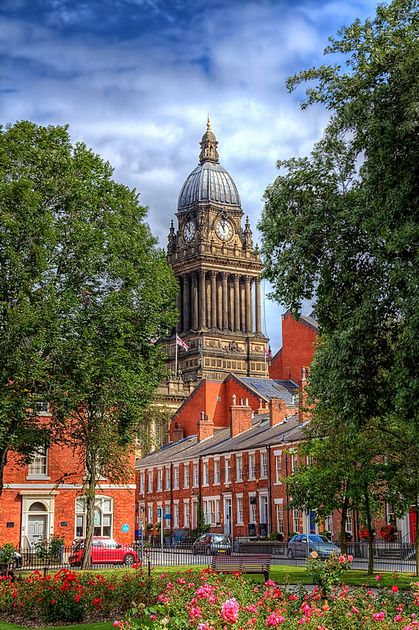 """""""Slightly different take"""" [with greenery]..Leeds superb Town Hall, Leeds, West Yorkshire.. (C) Stephen Candler Photography.."""
