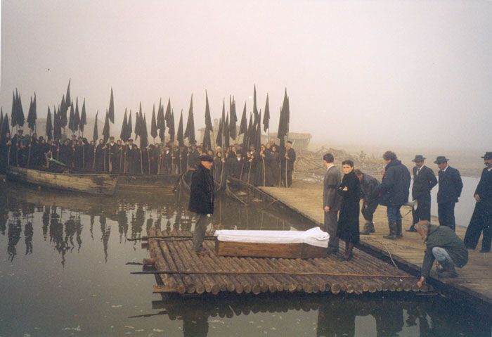 Theo Angelopoulos during the shooting of the film ''The Weeping Meadow''