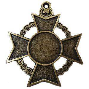 Medalla super especial Ref Cruz de Alcántara, con logo personalizado a full color; puede ir pintada en cada esquina