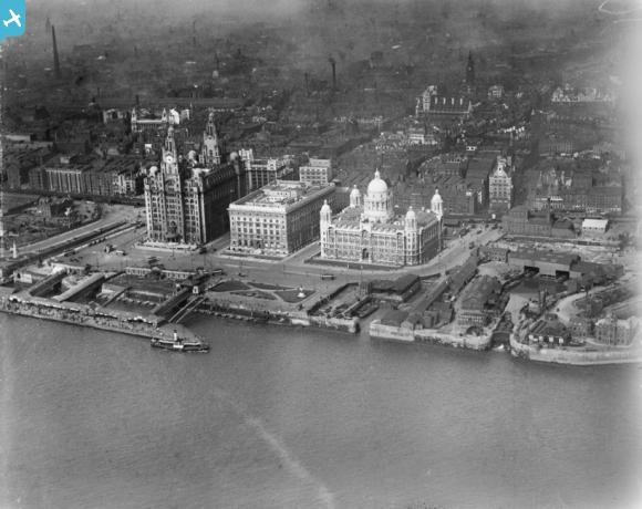The Three Graces and the Manchester Dock, Liverpool, 1920