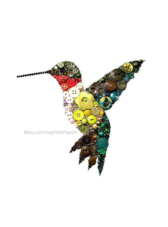 Button Art Hummingbird Ruby Throated Hummingbird by BellePapiers
