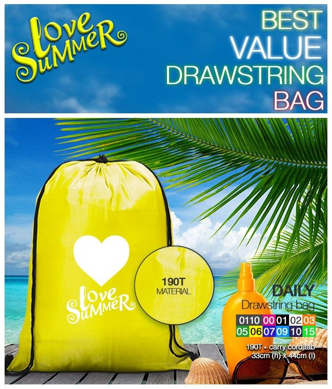 Daily Drawstring Bag 190T • carry cord tab 33cm (h) x 44cm (l)  #BrandedBag #FestiveSeasonValue linda@lindajacobspromotions.co.za