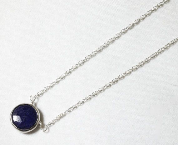 Blue Sapphire Necklace Genuine Sapphire Necklace Sterling September Birthstone Real Sapphire Necklace Precious Gemstone BZ-P-105-Sapph/s $60.00
