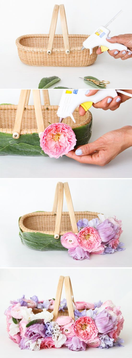 Easter DIY // How To Make a DIY Easter Basket with Fresh Flowers: you could also use this for a wedding!
