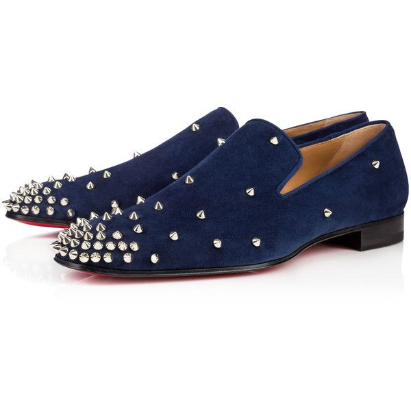 Christian Louboutin Degra Flat ($1,095) ❤ liked on Polyvore featuring men's fashion, men's shoes, slip ons, christian louboutin mens shoes, mens navy shoes, navy blue mens shoes, mens spiked shoes and mens slip on shoes