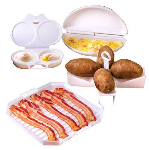 4 Piece Microwave Cookware Set Includes Microwave Bacon Cooker, Egg Poacher, Omelet Maker And Potato Baker for Perfect Baked Potatoes In Your Microwave Oven - Dishwasher Safe - http://sleepychef.com/4-piece-microwave-cookware-set-includes-microwave-bacon-cooker-egg-poacher-omelet-maker-and-potato-baker-for-perfect-baked-potatoes-in-your-microwave-oven-dishwasher-safe/