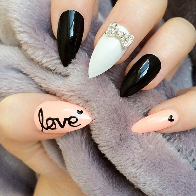 Black, white and pink stiletto love nail art with crystal bow...x