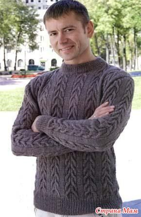 Мужской пуловер с косами. Присоединяйтесь! - Вяжем вместе он-лайн - Страна Мам
