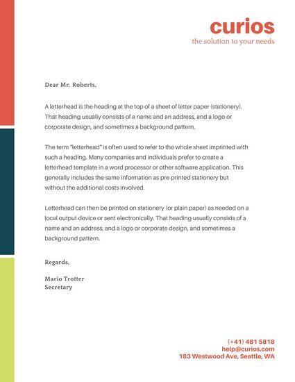 Red Orange, Blue, and Green Line Official Letterhead | Branding