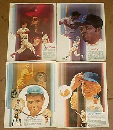 4 VINTAGE COCA-COLA BASEBALL GREATS POSTERS  painted by dad, Del Nichols