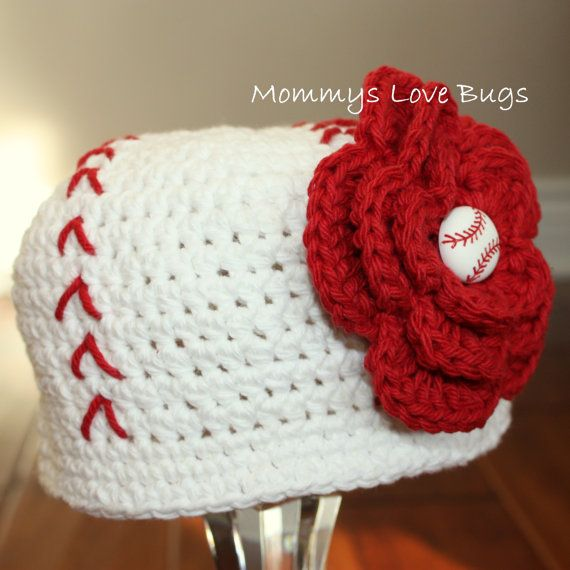 @Lizette Davis you should totally make these!!!!!!!!!!!: Girl Baseball, Crochet Baseball, Ball Crochet, Baseball Beanie, Baby Girls, Baseball Hats
