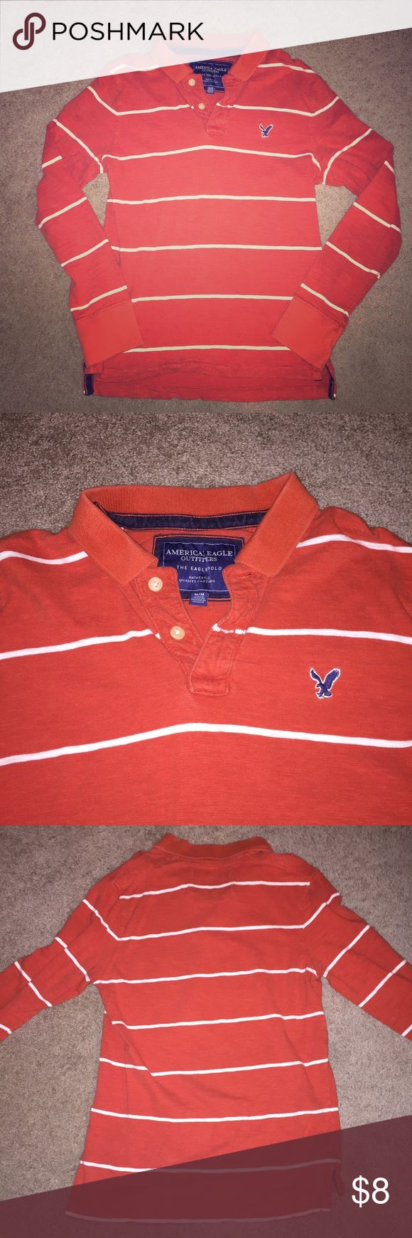 AE Men's Long Sleeve Polo Men's long sleeve orange polo with thin white stripes, relaxed comfy fit! American Eagle Outfitters Shirts Polos