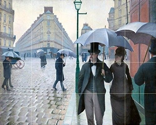Paris Street; Rainy Day By Gustave Caillebotte - 20 Tile Art Mural, Kitchen Shower Bath Backsplash (30'w X 24'h - 6x6 Tumbled Marble Tile w/ Satin Matte Finish), Blue