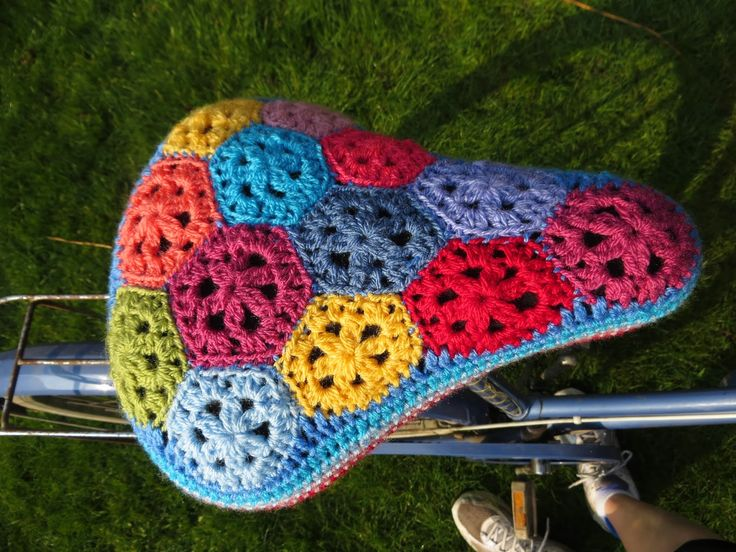 Hexie bicycle seat cover  made by Bunny Mummy