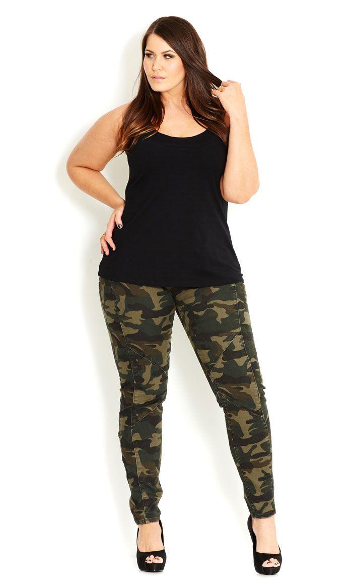 City Chic - CAMO CADET CARGO - Women's plus size fashion
