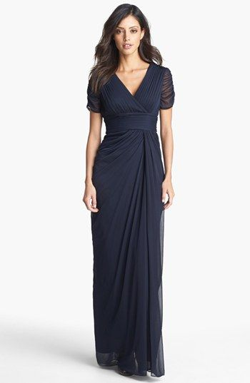 Adrianna Papell Draped Mesh Gown (Regular & Petite) available at #Nordstrom