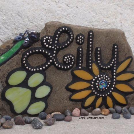 Larger Pet Memorial Garden Stones-1 - Mosaic Custom Order | Chris Emmert Mosaic & Design