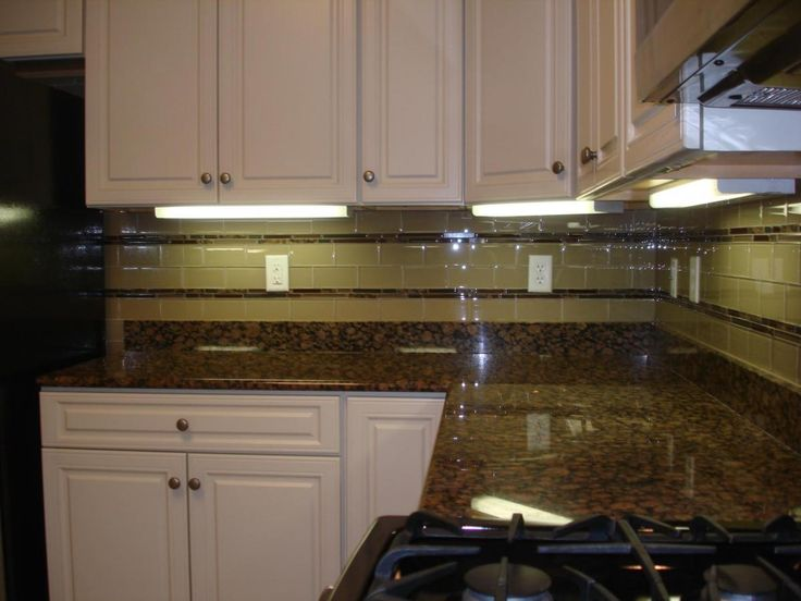 glass tile backsplash glass 3x6 kitchen tile backsplash with two granite and glass stick - Kitchen Backsplash Ideas With Black Granite Countertops