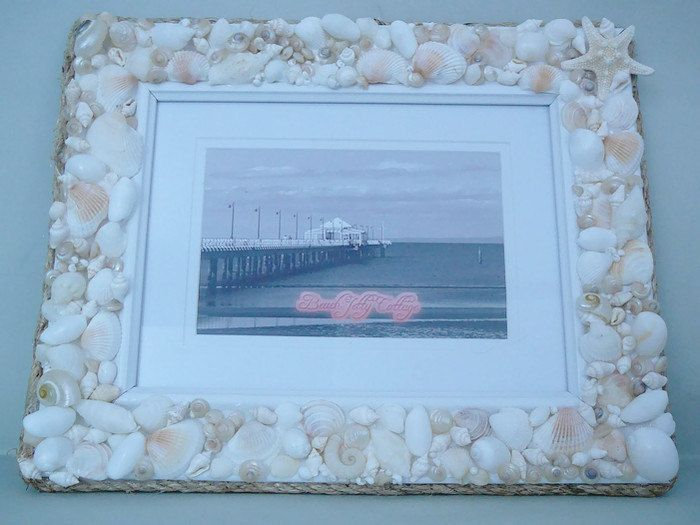 Picture Frame with seashells by BeachJettyCottage on Etsy