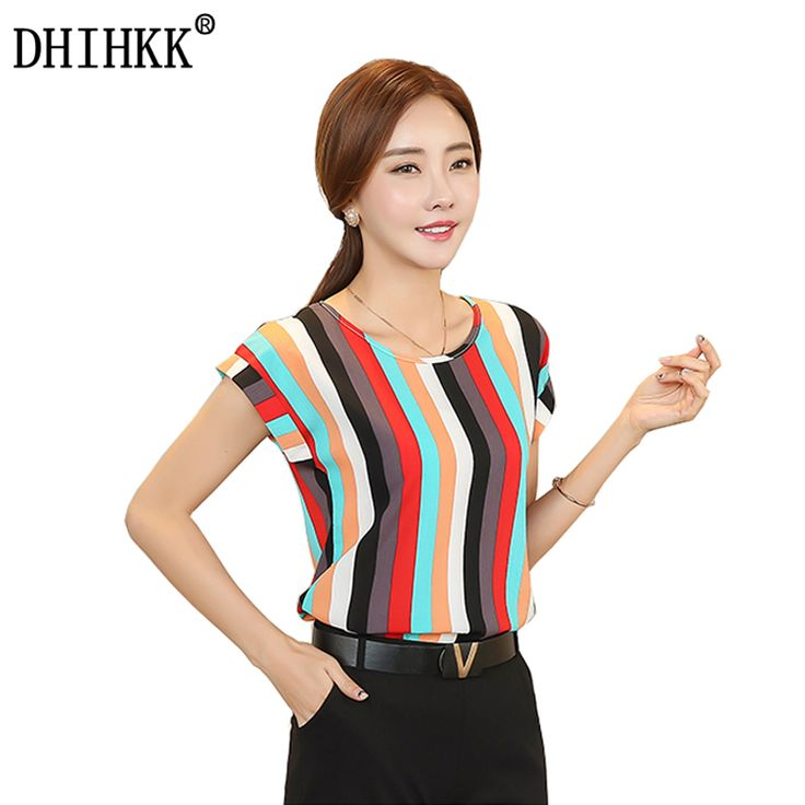 Price-7$       DHIHKK 2017 Summer Striped Print Chiffon Blouse O-neck Shirts  Short Sleeve Chiffon Tops Plus Size M-4XL Blusas Femininas