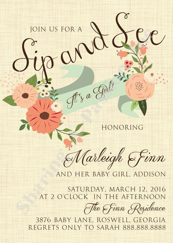 Sip and See Invitation Girl Sip and See by SharingAPassionINC
