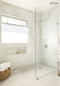 Stand up shower - simple step in with a sheet of glass