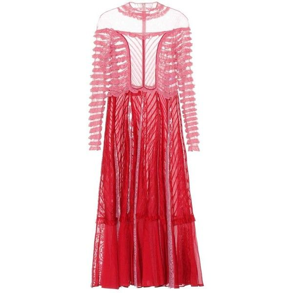 Valentino Lace-Paneled Dress ($8,000) ❤ liked on Polyvore featuring dresses, red, lace inset dress, valentino dress, lace panel dress, lace insert dress and red dress
