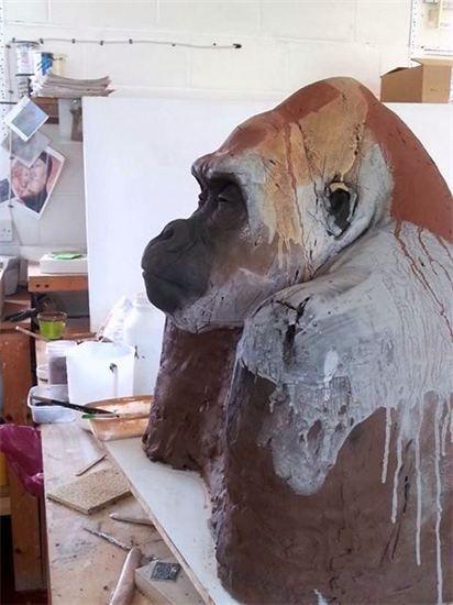 Nichola Theakston - Gorilla sculpture in progress. June 2013.