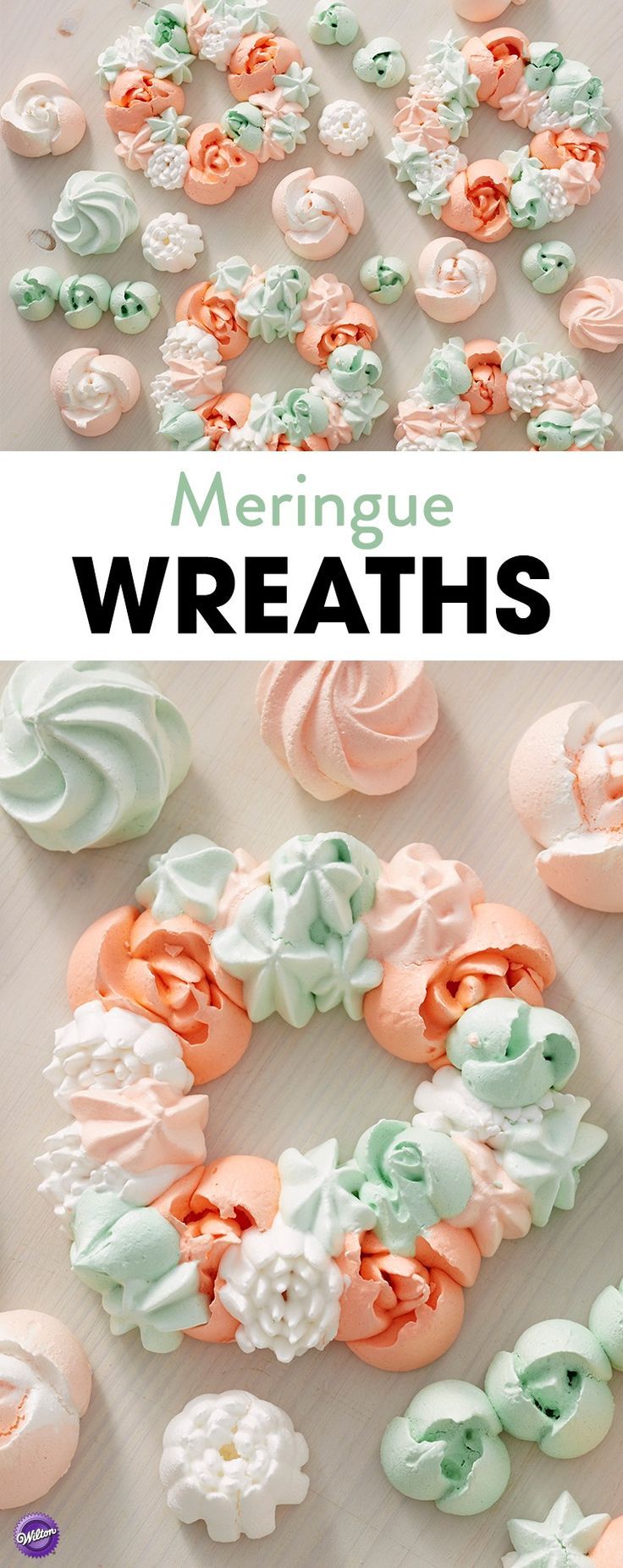 Meringue Wreaths Tutorial - These light and airy meringue cookies are perfect for brunches or celebrations like wedding showers or baby showers. Made using the Easy Blooms Tip Set, these Meringue Wreath Cookies may look challenging, but they're super easy to make! Best of all, no decorating required! Tint the meringue batter in various shades of orange and green to create lovely treats that are worthy of any celebration.