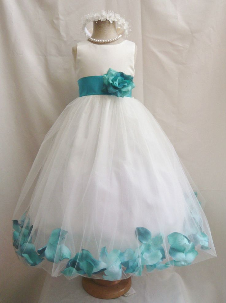 Flower Girl Dress IVORY w/ Teal PETAL Wedding by LuuniKids on Etsy, $39.00