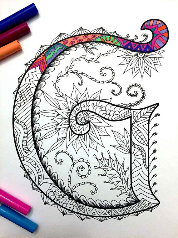 "Letter G Zentangle - Inspired by the font ""Harrington"""