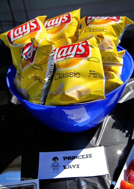 """Princess Lays"" and other awesome, simple Star Wars party food ideas, plus FREE PRINTABLES!  #starwars #legos"