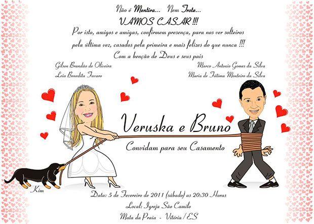 convite de casamento para casais engraçados