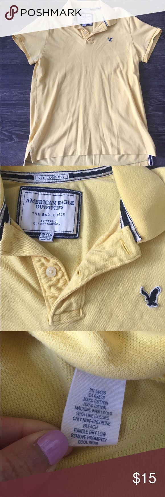 Men's AE yellow polo shirt Men's AE yellow polo shirt, size XL. Worn a few times, still in great condition. $15 OBO American Eagle Outfitters Shirts Polos