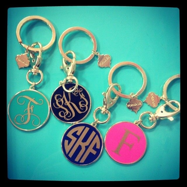 Because every #SwellCaroline loves to be covered in #monograms , we introduce you the monogrammed key chain! {numerous color and monogramming options} Give your key chain some personality! #Preppy
