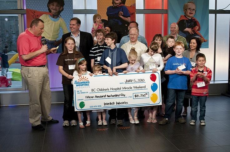 2010 - Interlock Industries (BC) Ltd. presents a check to the BC Children's Hospital Foundation.