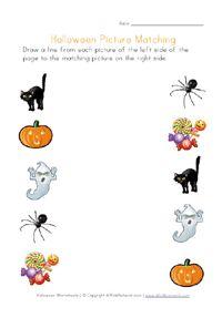 printable halloween matching worksheet for kids - Halloween Worksheets Preschool