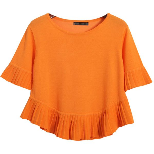 Chicnova Fashion Pure Color Tassel T-shirt ($30) ❤ liked on Polyvore featuring tops, t-shirts, tassel top, orange top, orange tee and orange t shirt